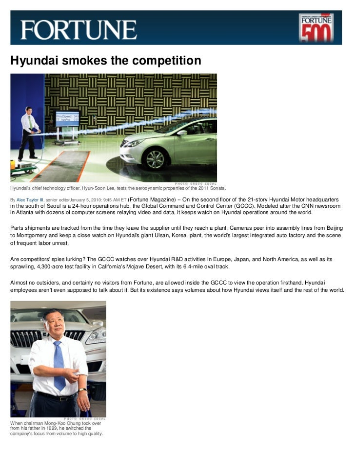 Hyundai smokes the competitionHyundais chief technology officer, Hyun-Soon Lee, tests the aerodynamic properties of the 20...