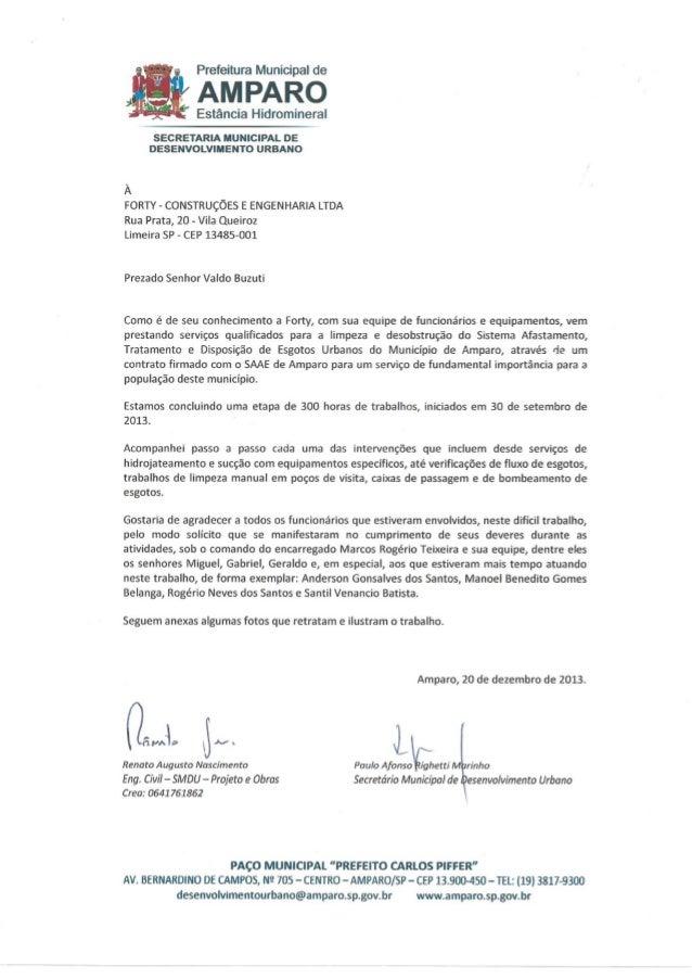 Forty Engenharia e Construções  - Carta Prefeitura de Amparo