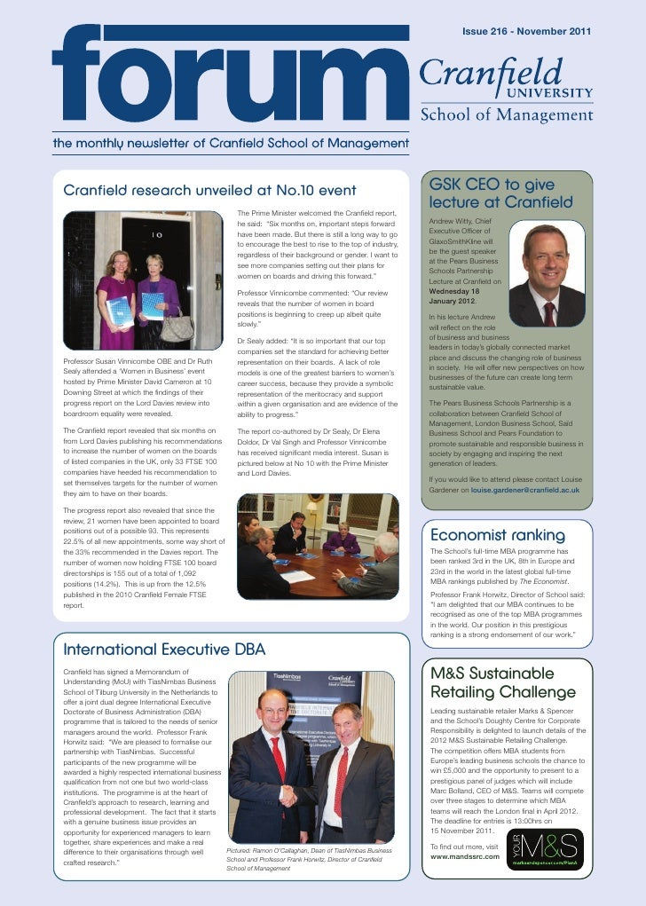 Issue 216 - November 2011Cranfield research unveiled at No.10 event                                                       ...