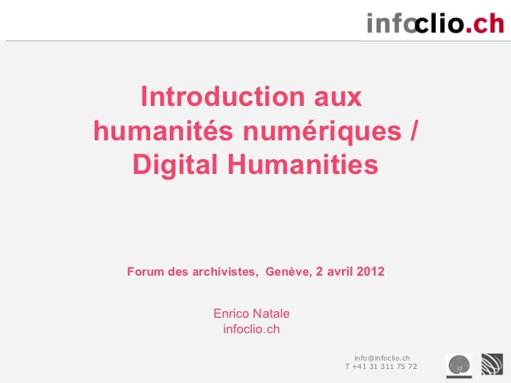 Introduction aux Digital Humanities