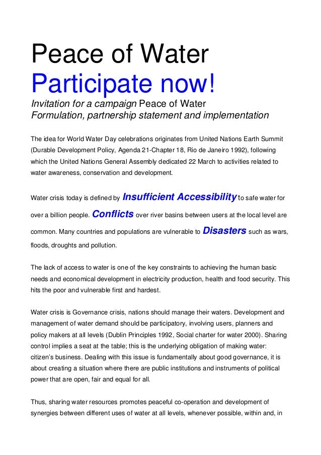 Peace of Water Participate now! Invitation for a campaign Peace of Water Formulation, partnership statement and implementa...