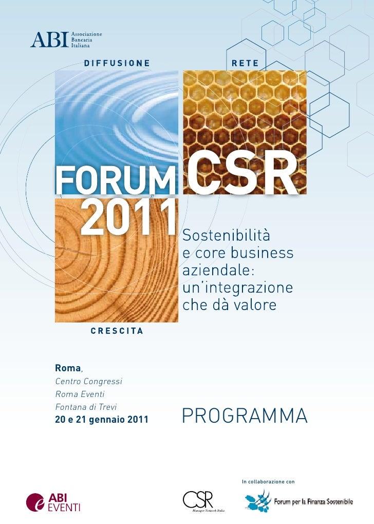 CSRRoma,Centro CongressiRoma EventiFontana di Trevi20 e 21 gennaio 2011   pRogRamma                           In collabora...