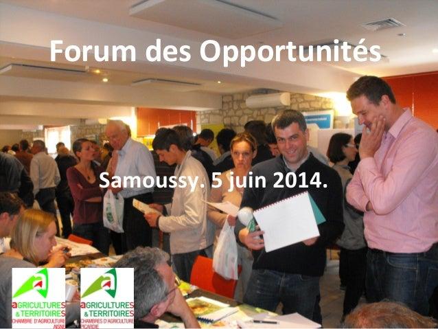 Forum des Opportunités Samoussy. 5 juin 2014.