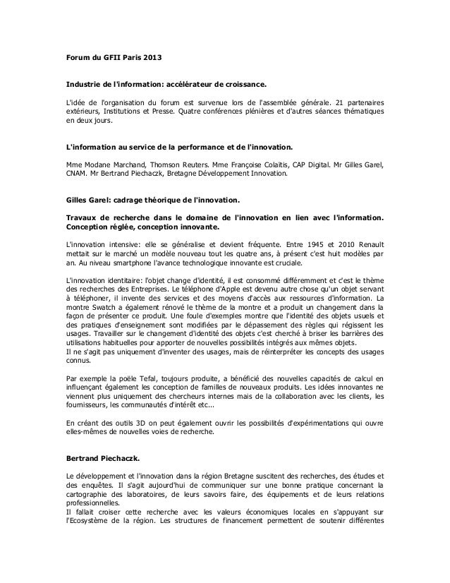 Forum du GFII Paris 2013Industrie de linformation: accélérateur de croissance.Lidée de lorganisation du forum est survenue...
