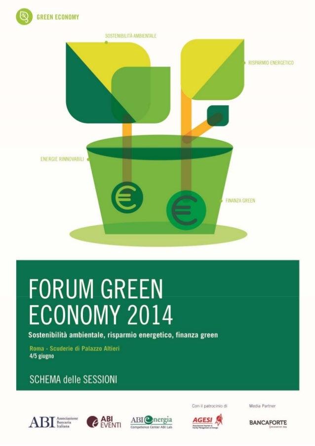 Forum Green Economy 2014 Schema delle Sessioni
