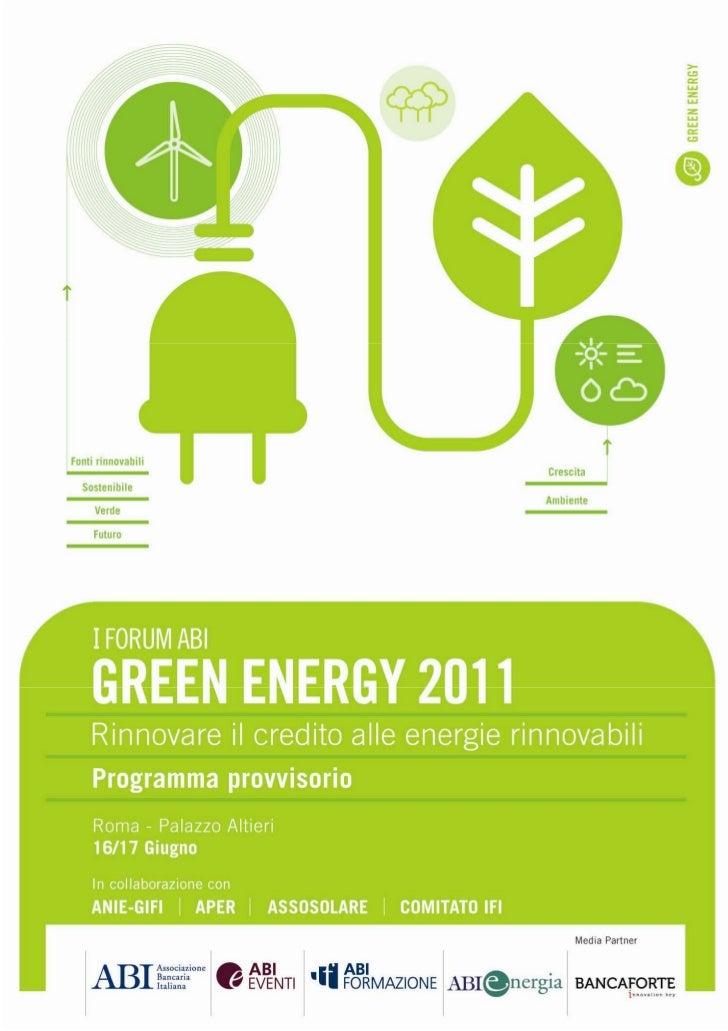 Forum Green Energy 2011 - Il programma dell'evento sulle energie rinnovabili