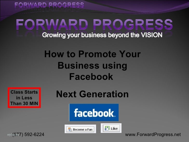 Forward Progress   -    How to Promote your Business using Facebook - Next Generation