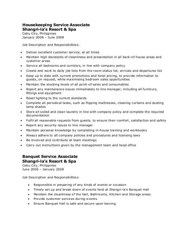 Resume Housekeeping Duties Housekeeping Resume Sample Housekeeping Resume  Objective Best Business Template Resume Examples Housekeeping Objective  Resume For Housekeeping