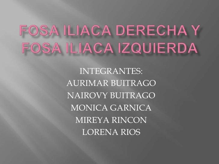 FOSA ILIACA DERECHA Y FOSA ILIACA IZQUIERDA<br />INTEGRANTES:<br />AURIMAR BUITRAGO<br />NAIROVY BUITRAGO<br />MONICA GARN...