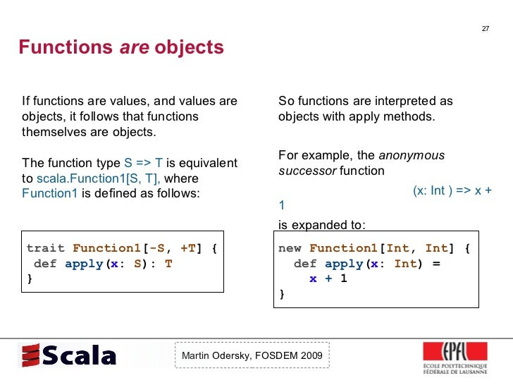 Functions  are  objects <ul><li>If functions are values, and values are objects, it follows that functions themselves are ...