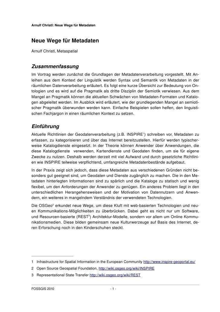 Neue Wege Fuer Metadaten - FOSSGIS 2010