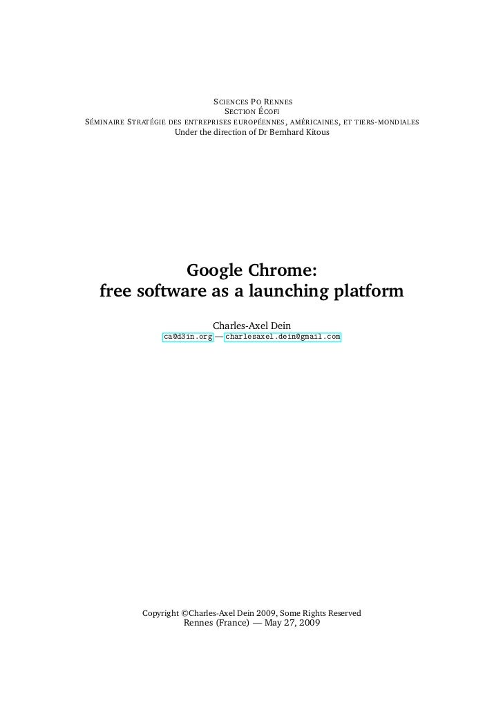 Google Chrome: Free Software as a launching platform