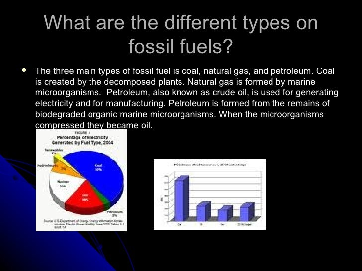 the different types of fossil fuels Electricity generation the different types of energy and the amount of electricity they create are listed below: fossil fuels.