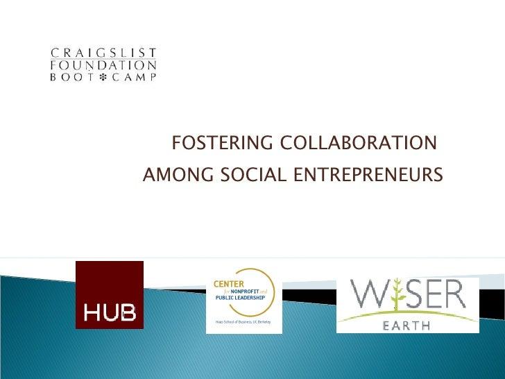 Fostering collaboration among social entrepreneurs