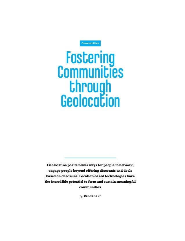 Fostering Communities Through Geolocation