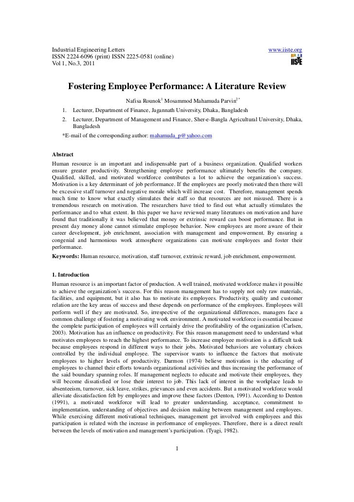 Literature review for employee motivation