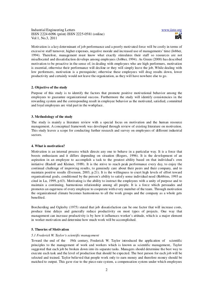 motivation review of literature International journal of management sciences vol 1, no 4, 2013, 114-124 an empirical study on the factors that affect employee motivation and their relationship with job performance lubna javed1, nida javed2 abstract this paper focuses on the importance of motivating the employees to get superior work behaviors in order to.