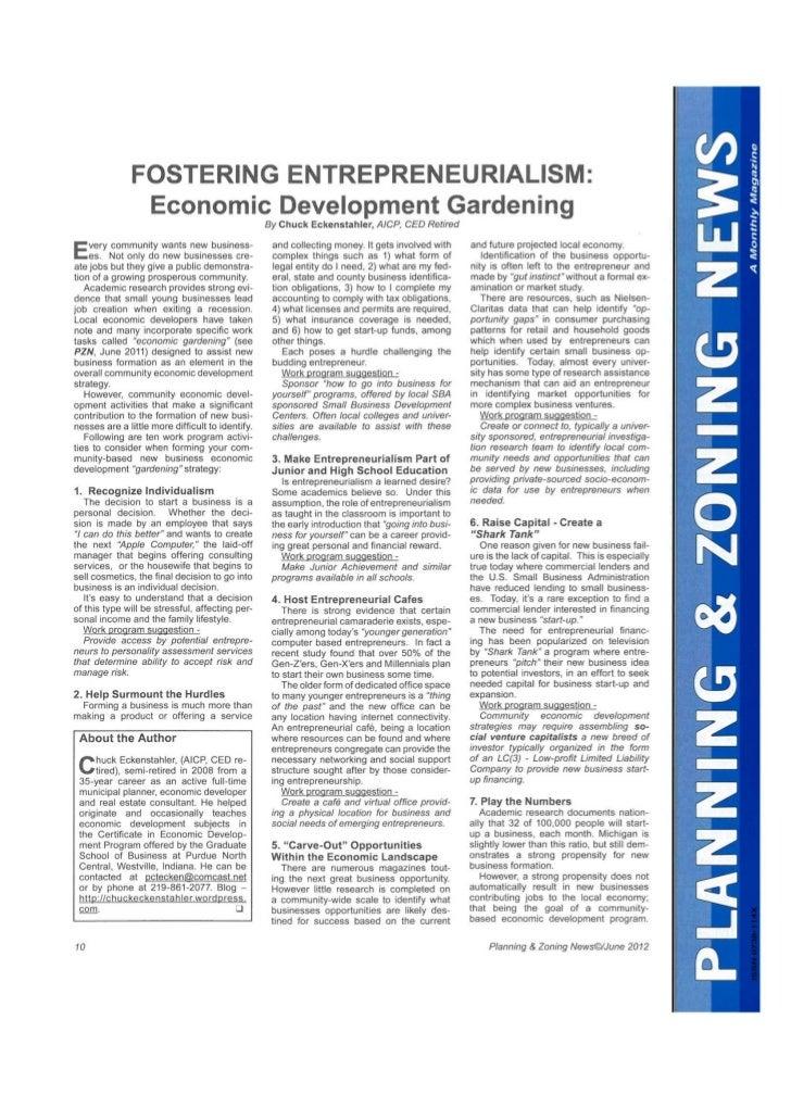Fostering Entrepreneurialism P&Z June 2012