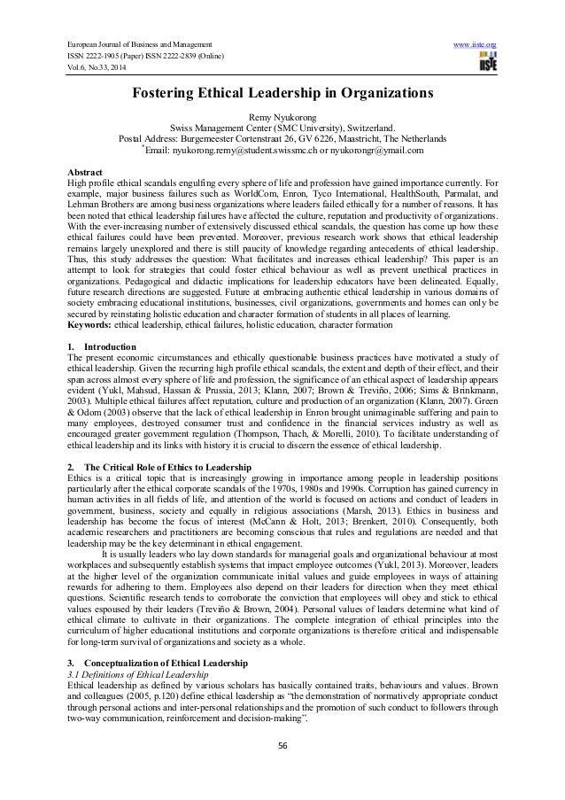 Ethical leadership essay