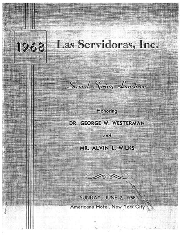 Foster pag38 las servidoras, inc. 2nd a nnual lunch program w gwesterman 1968