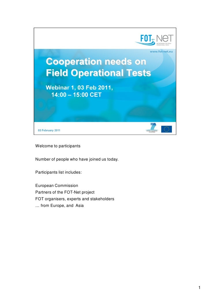 Cooperation needs on Field Operational Tests
