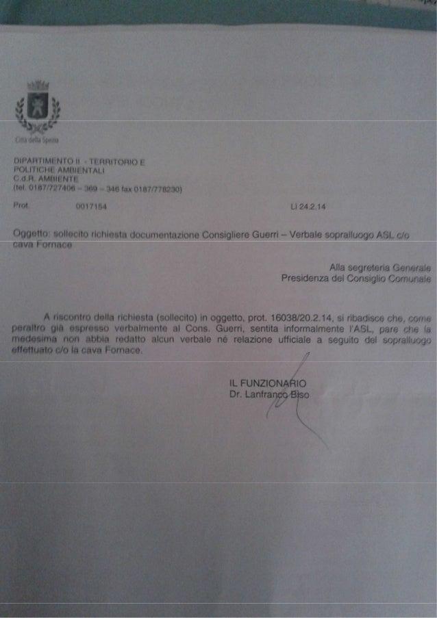 lettera Comune Spezia accesso ispezioni ASL cava Fornace