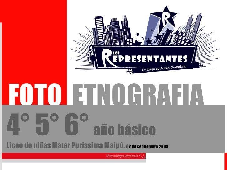 FOTO  ETNOGRAFIA 4° 5° 6°   año básico Liceo de niñas Mater Purissima Maipú.  02 de septiembre 2008