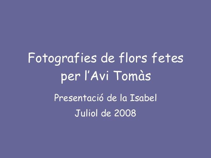 Fotografies de flors fetes per l'Avi Tomàs <ul><li>Presentació de la Isabel </li></ul><ul><li>Juliol de 2008 </li></ul>