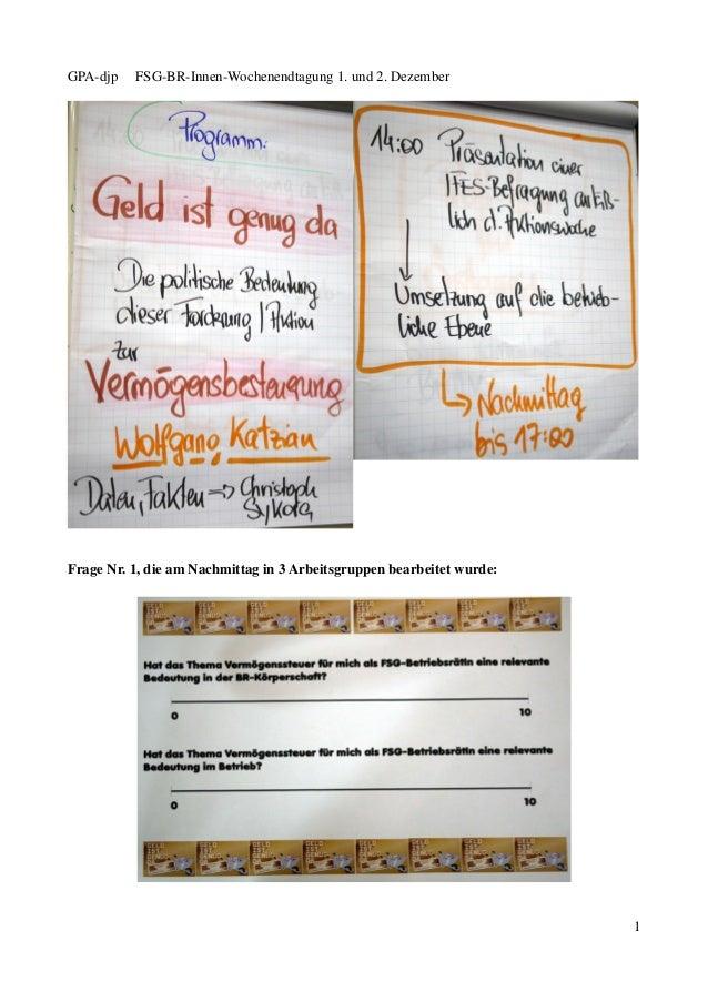GPA-djp   FSG-BR-Innen-Wochenendtagung 1. und 2. DezemberFrage Nr. 1, die am Nachmittag in 3 Arbeitsgruppen bearbeitet wur...