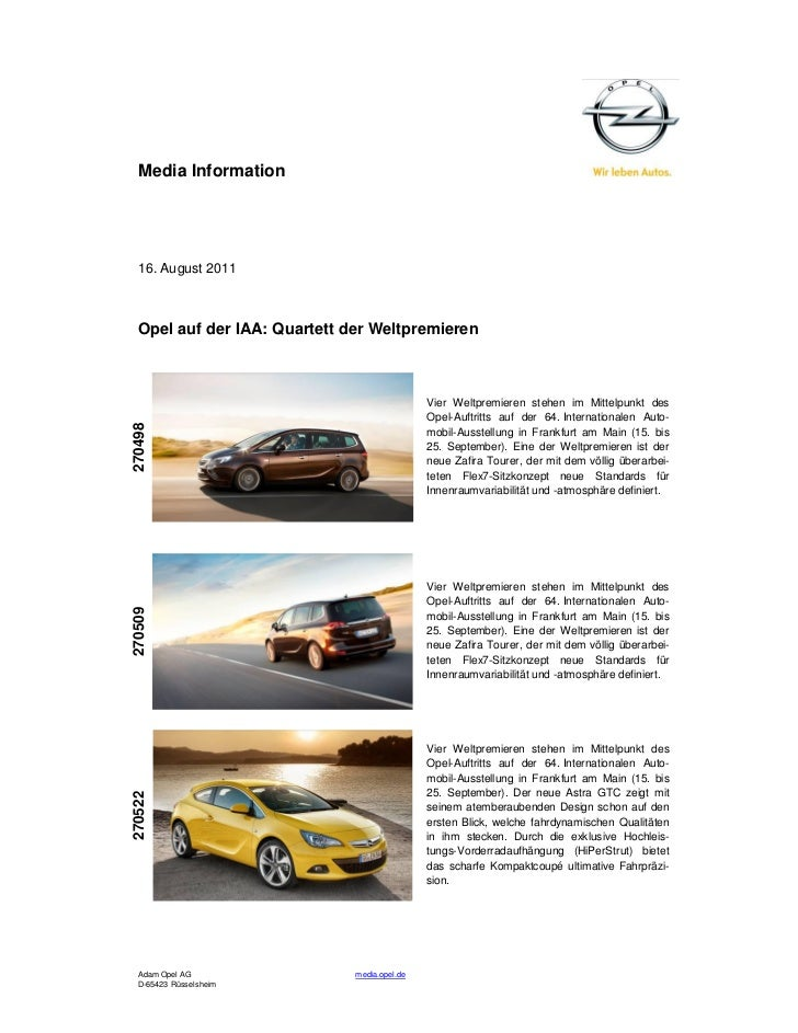 Media Information  16. August 2011  Opel auf der IAA: Quartett der Weltpremieren                                          ...
