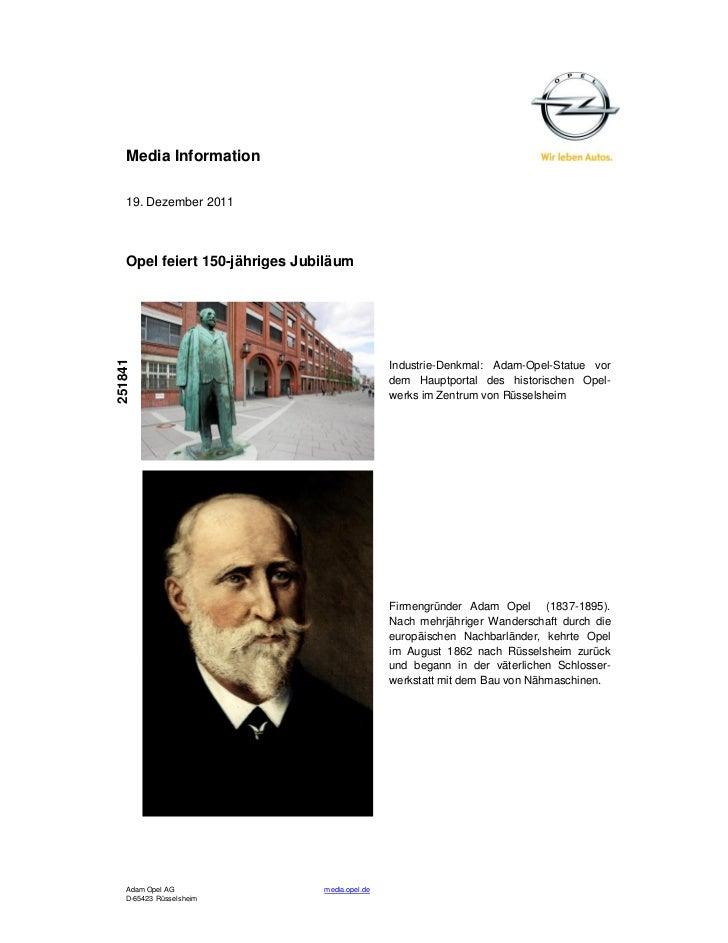 Media Information   19. Dezember 2011   Opel feiert 150-jähriges Jubiläum251841                                           ...