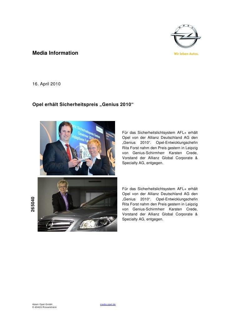 """Media Information  16. April 2010  Opel erhält Sicherheitspreis """"Genius 2010""""                                             ..."""