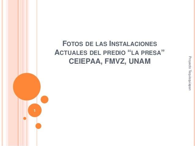 """FOTOS DE LAS INSTALACIONES ACTUALES DEL PREDIO """"LA PRESA"""" CEIEPAA, FMVZ, UNAM ProyectoTequisquiapan 1"""