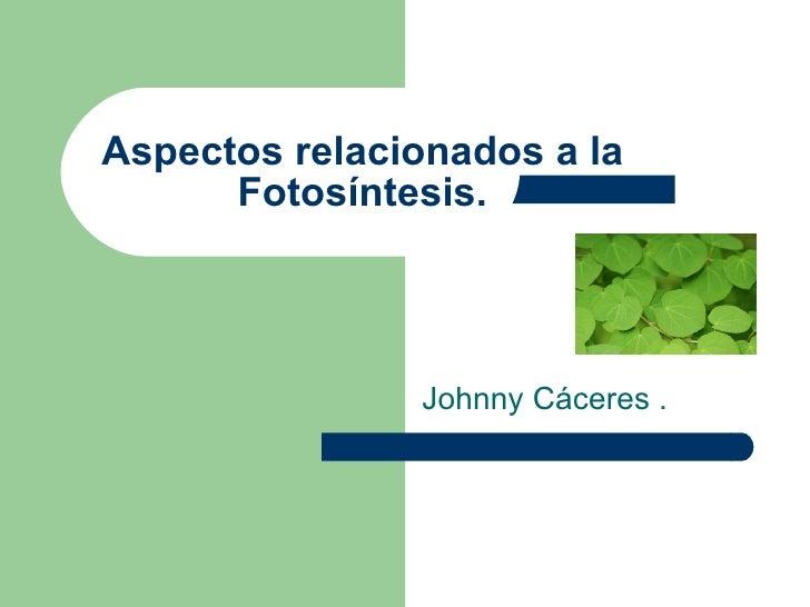 Johnny Cáceres . Aspectos relacionados a la Fotosíntesis.