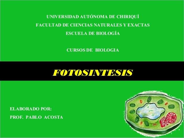 UNIVERSIDAD AUTÓNOMA DE CHIRIQUÍ FACULTAD DE CIENCIAS NATURALES Y EXACTAS ESCUELA DE BIOLOGÍA CURSOS DE BIOLOGIA FOTOSINTE...