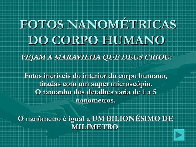 FOTOS NANOMÉTRICASFOTOS NANOMÉTRICAS DO CORPO HUMANODO CORPO HUMANO VEJAM A MARAVILHA QUE DEUS CRIOU:VEJAM A MARAVILHA QUE...
