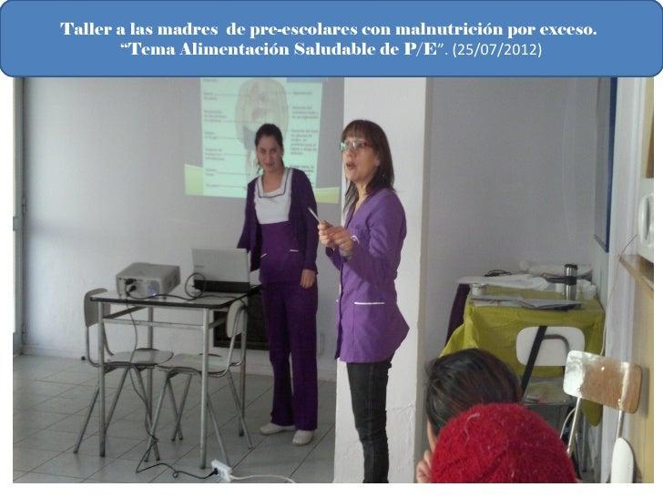 "Taller a las madres de pre-escolares con malnutrición por exceso.       ""Tema Alimentación Saludable de P/E"". (25/07/2012)"