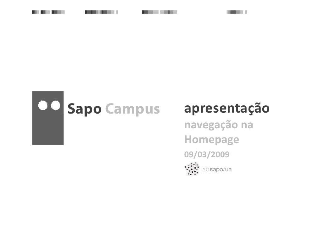 apresentação                p       ç Sapo Campus   p     p               navegaçãona               Homepage            ...