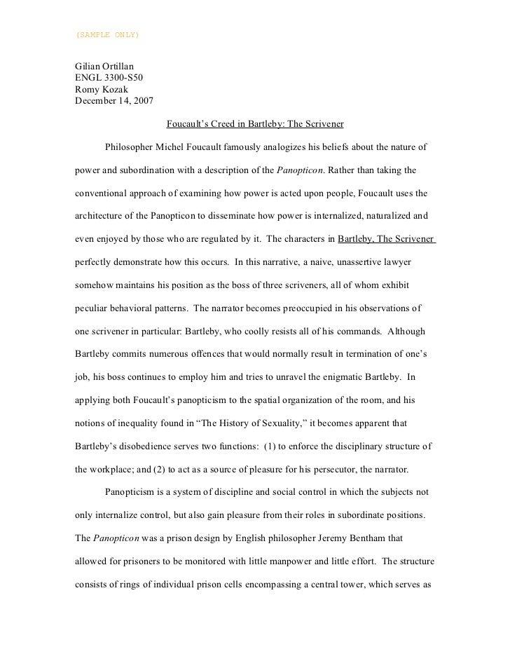 (SAMPLE ONLY)Gilian OrtillanENGL 3300-S50Romy KozakDecember 14, 2007                       Foucault's Creed in Bartleby: T...