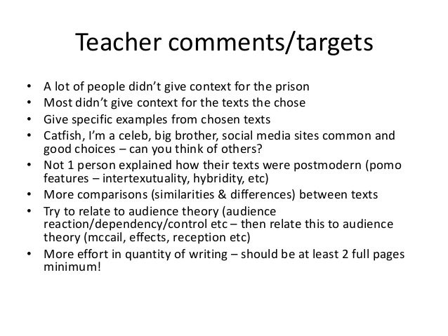 essay comments for teachers Grading essays grade for learning information about grading student writing also appears in the grading section of the teaching use final or end comments to.
