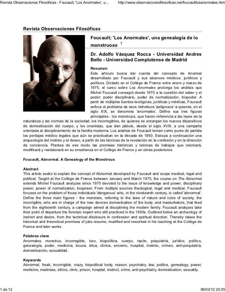 Revista Observaciones Filosóficas - Foucault; Los Anormales, u...      http://www.observacionesfilosoficas.net/foucaultlos...