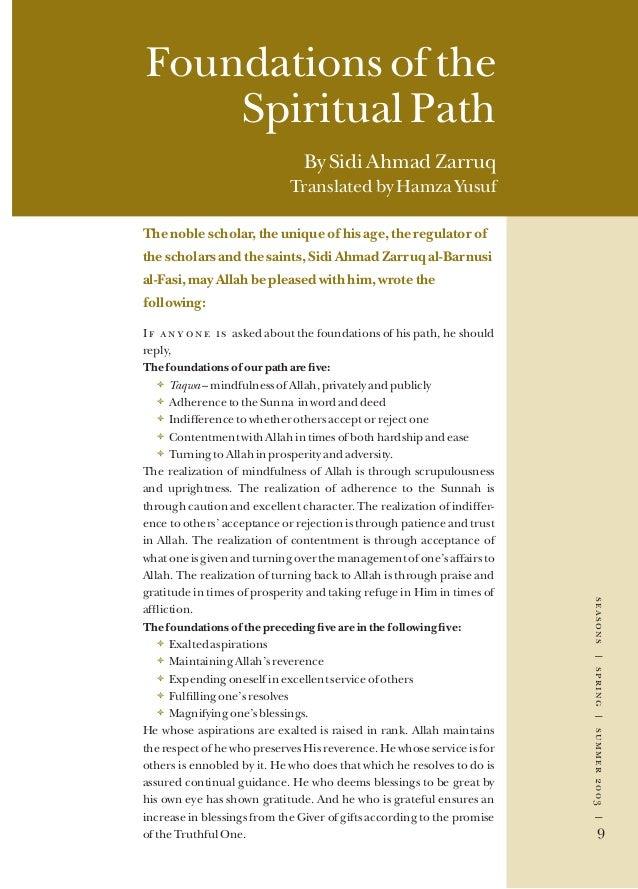 seasons|spring|summer2003| 9 seasons|spring|summer2003| 9 Foundations of the Spiritual Path By Sidi Ahmad Zarruq Translate...