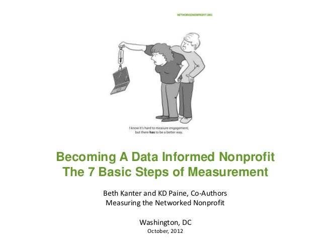 Becoming A Data Informed Nonprofit The 7 Basic Steps of Measurement       Beth Kanter and KD Paine, Co-Authors        Meas...