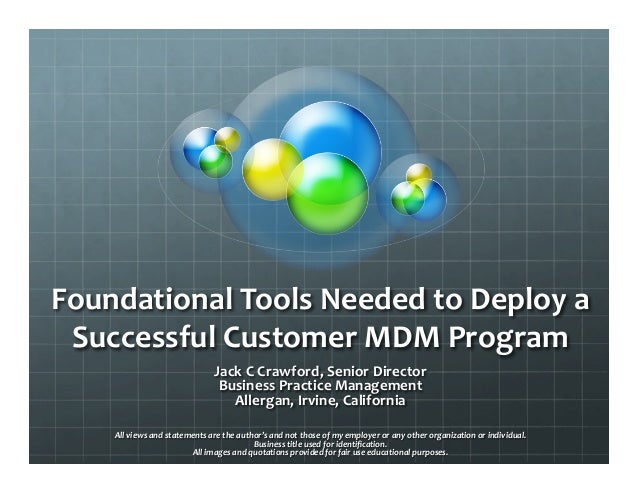 Foundational Tools Needed to Deploy a  Successful Customer MDM Program                                ...