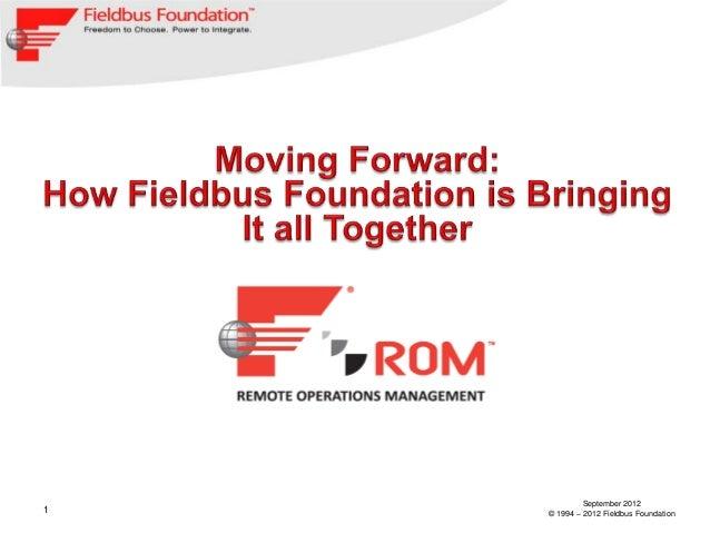 September 20121   © 1994 – 2012 Fieldbus Foundation