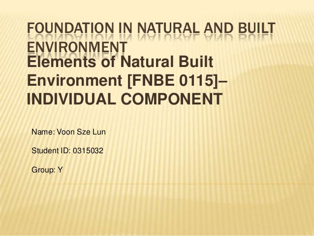FOUNDATION IN NATURAL AND BUILTENVIRONMENTElements of Natural BuiltEnvironment [FNBE 0115]–INDIVIDUAL COMPONENTName: Voon ...