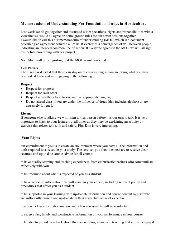 Memorandum of Understanding For Foundation Trades in HorticultureLast week we all got together and discussed our expectati...