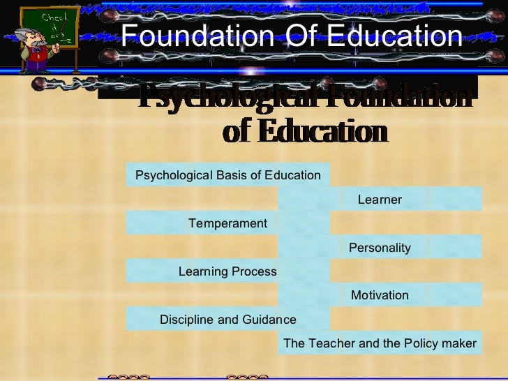 Foundation Of Education Psychological Foundation  of Education Psychological Basis of Education Learner Temperament Person...