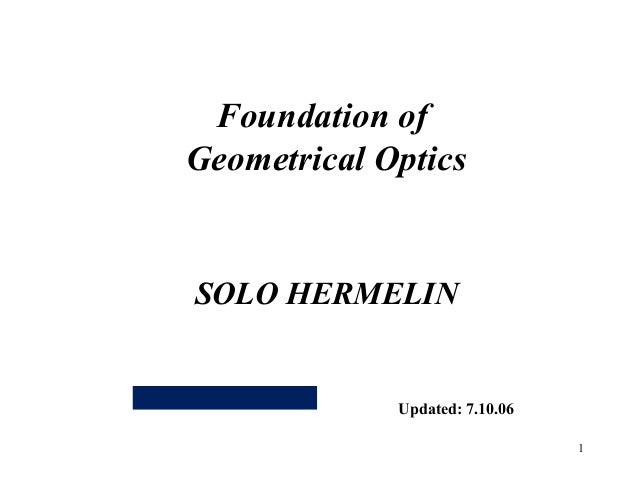 Foundation of geometrical optics