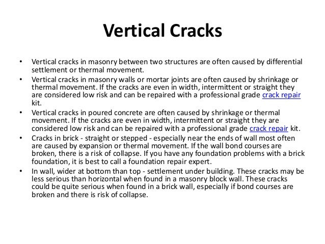 vertical cracks vertical cracks in masonry between two structures are
